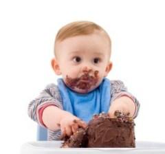"""""""Baby Eating Cake,"""" from Cake Chooser via Make It Like a Man! White Vanilla Buttercream Frosting"""