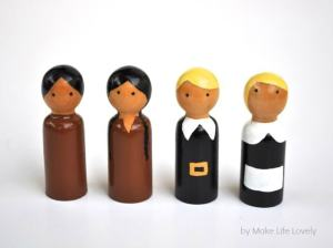 DIY Thanksgiving Pilgrim and Indian Wood Peg Dolls