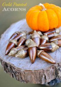DIY Gold & Bronze Painted Acorns