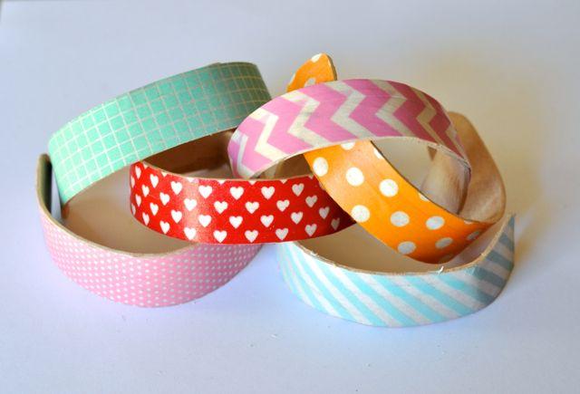 DIY Popsicle Stick Bracelets with Washi Tape
