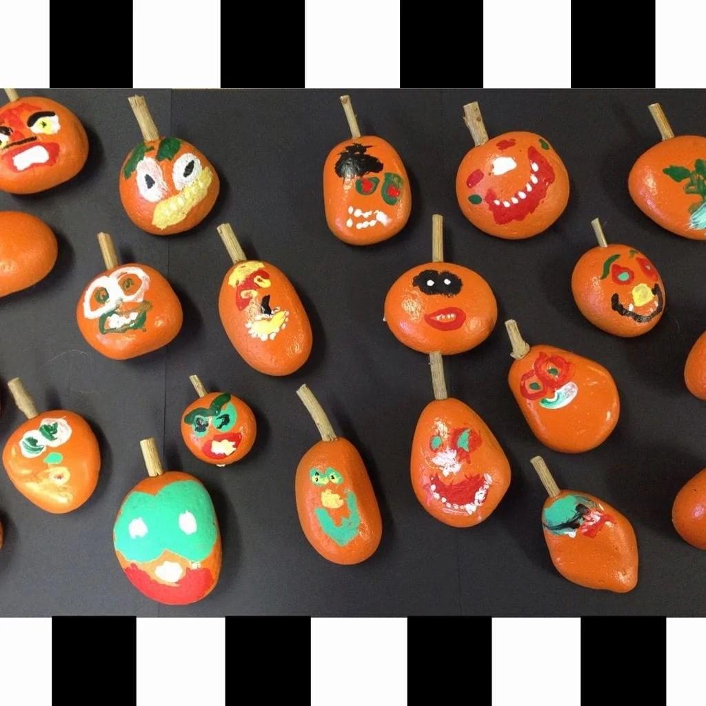 Pumpkins made out of rocks