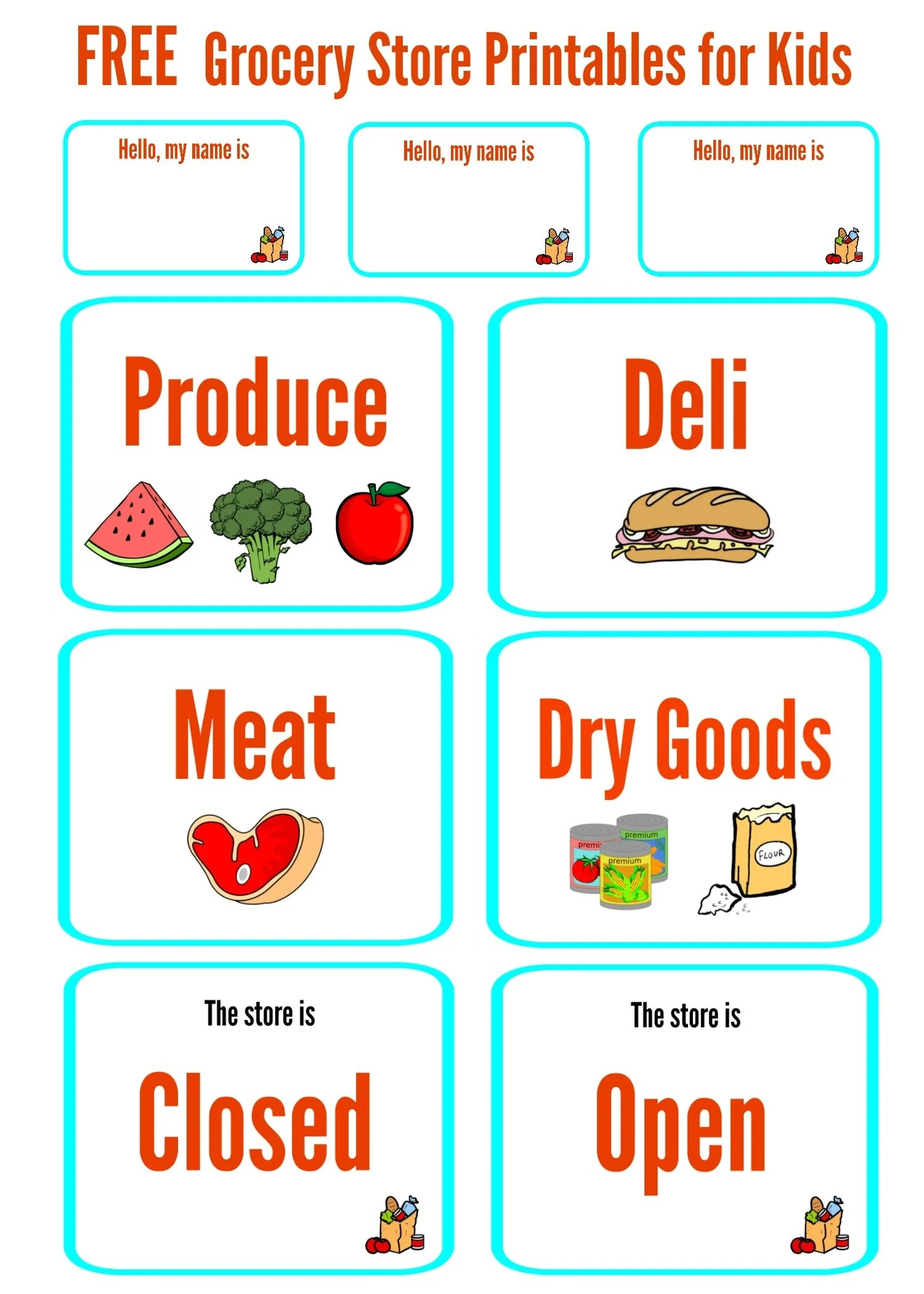 Free Grocery Store Printables For Kids Dramatic Play