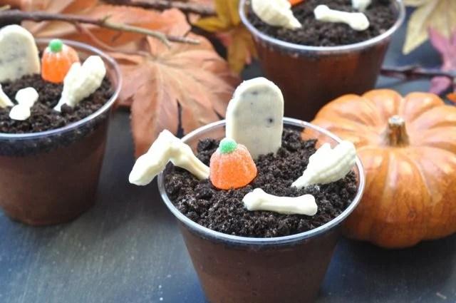 Chocolate pudding graveyard cups Halloween treat