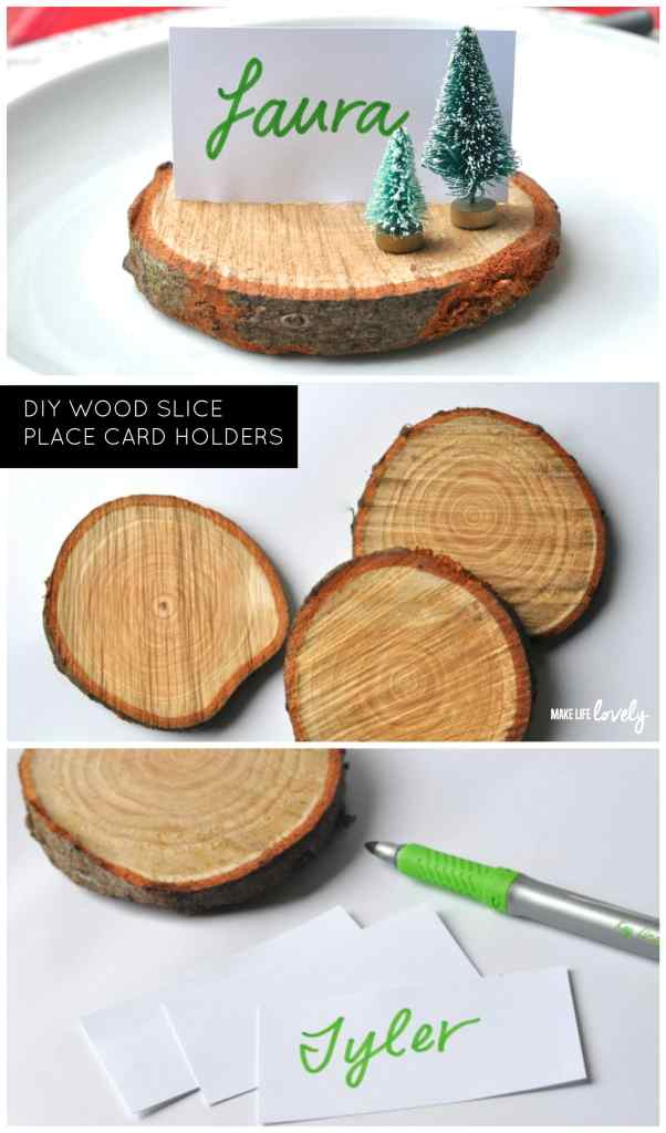 DIY Wood Slice Place Card Holders