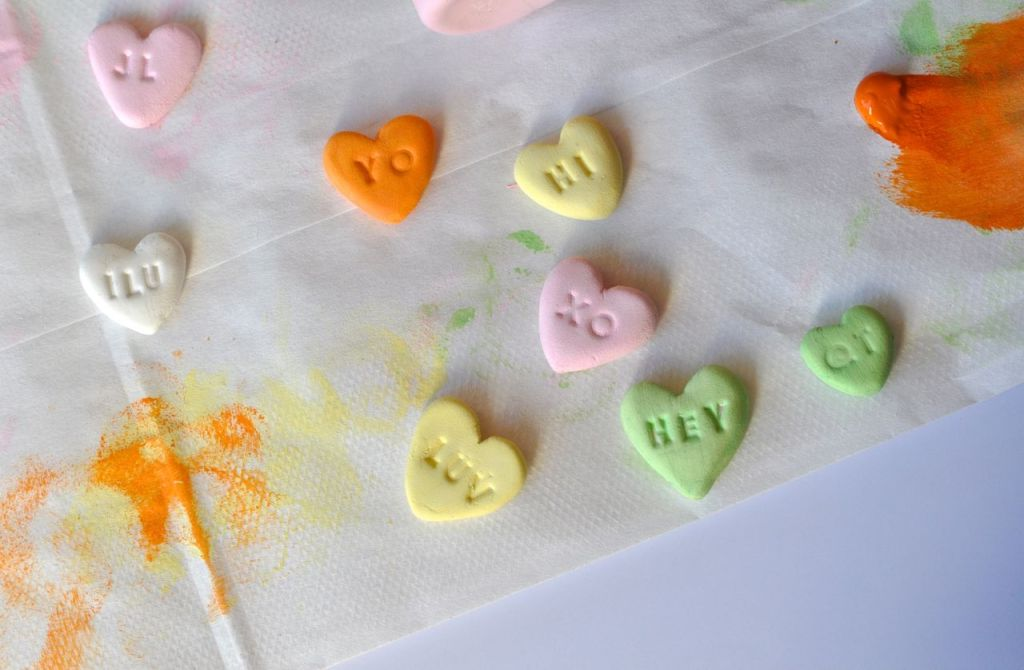 Conversation heart craft for Valentine's Day