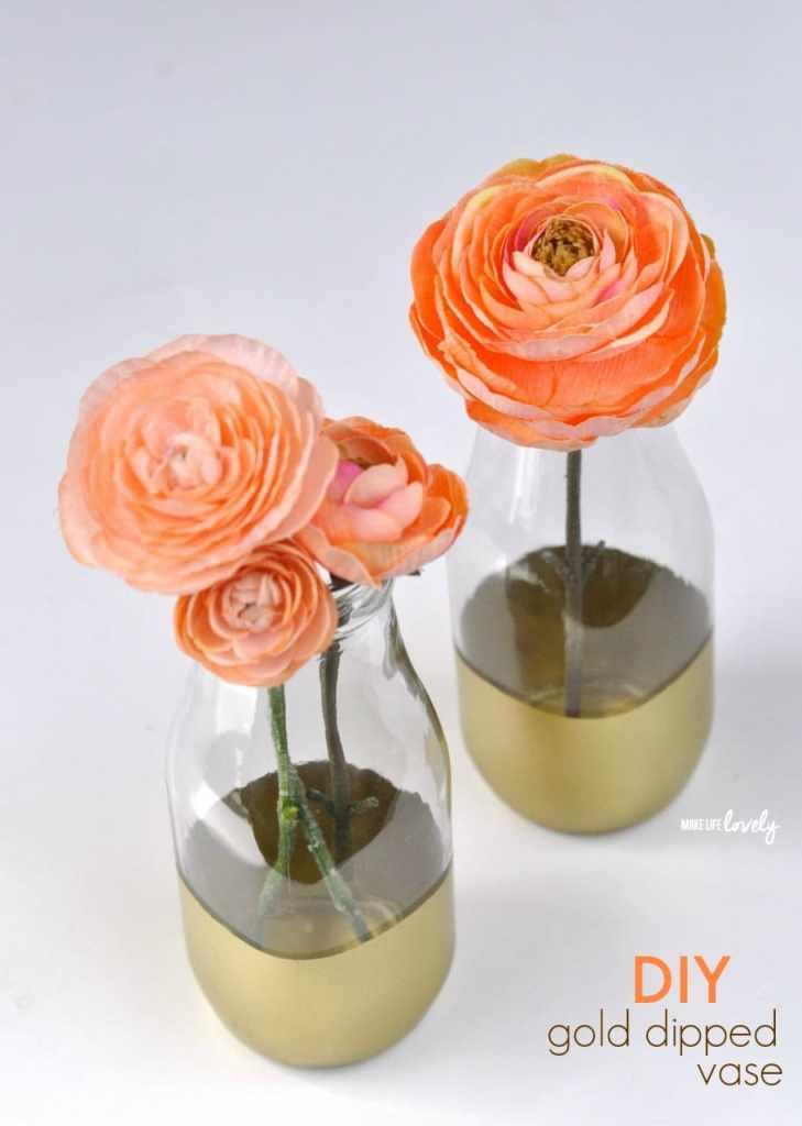 DIY Gold Dipped Vase