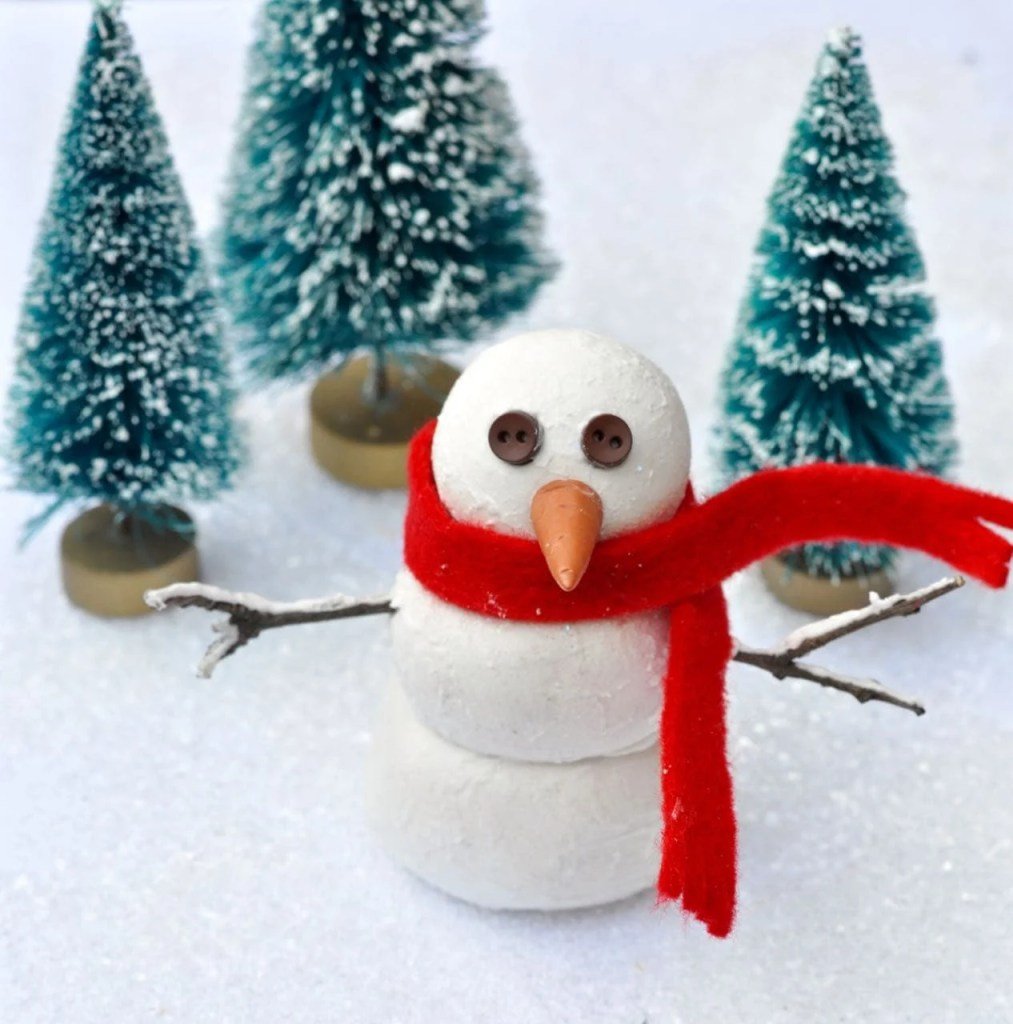 Cute snowman decoration to make with the kids at Christmas time