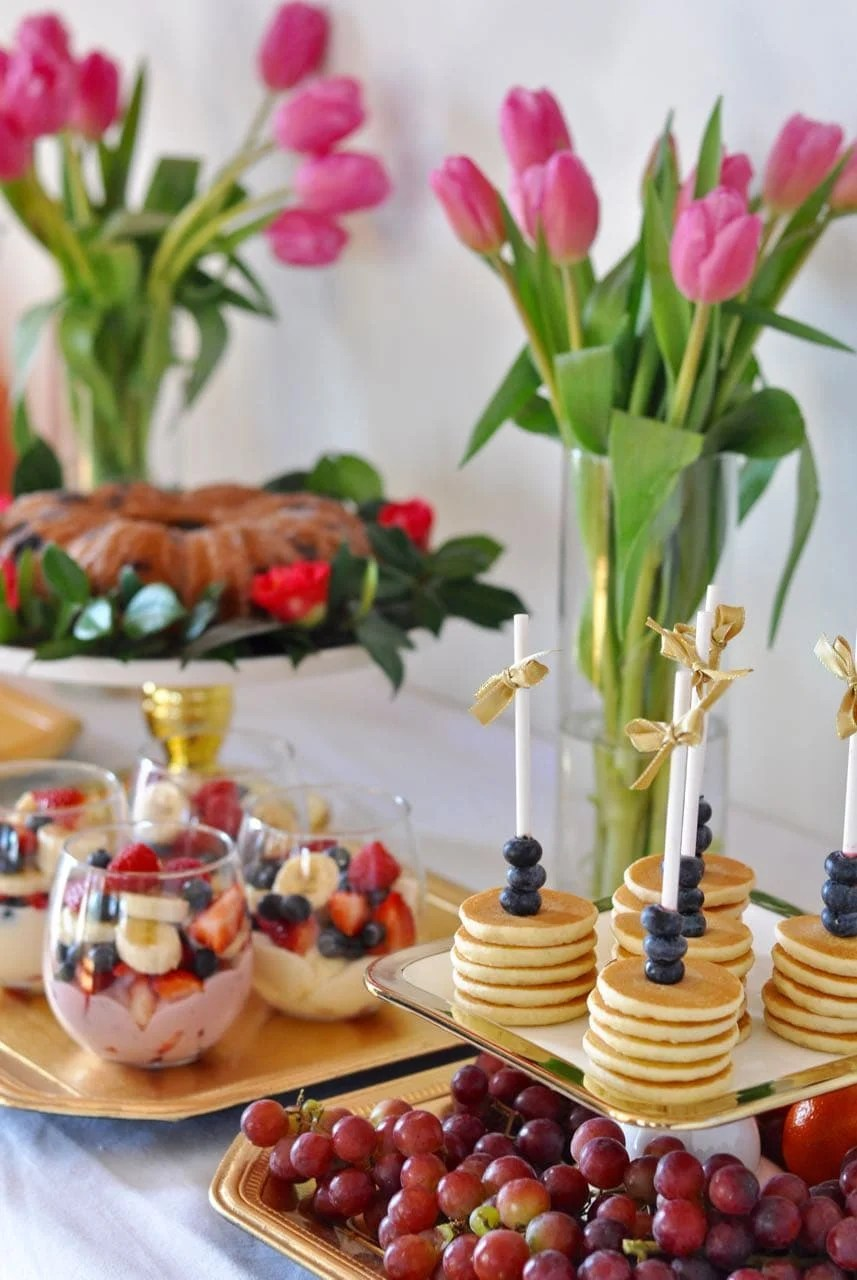 Lots Of Brunch Party Ideas Love The Mini Pancakes On A Stick Idea