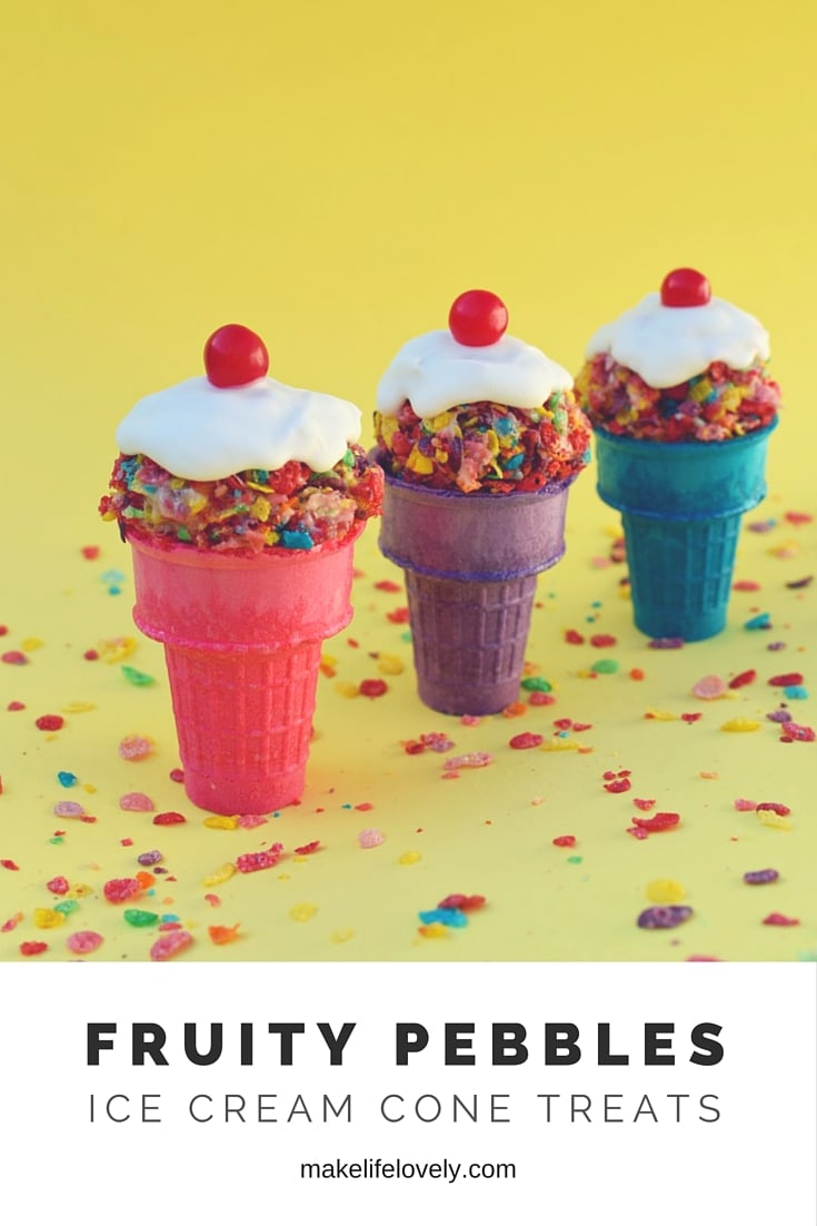 Fruity Pebbles Ice Cream Cone Treats by Make Life Lovely