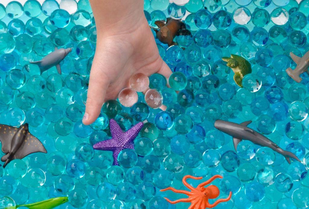 Ocean water beads sensory bin