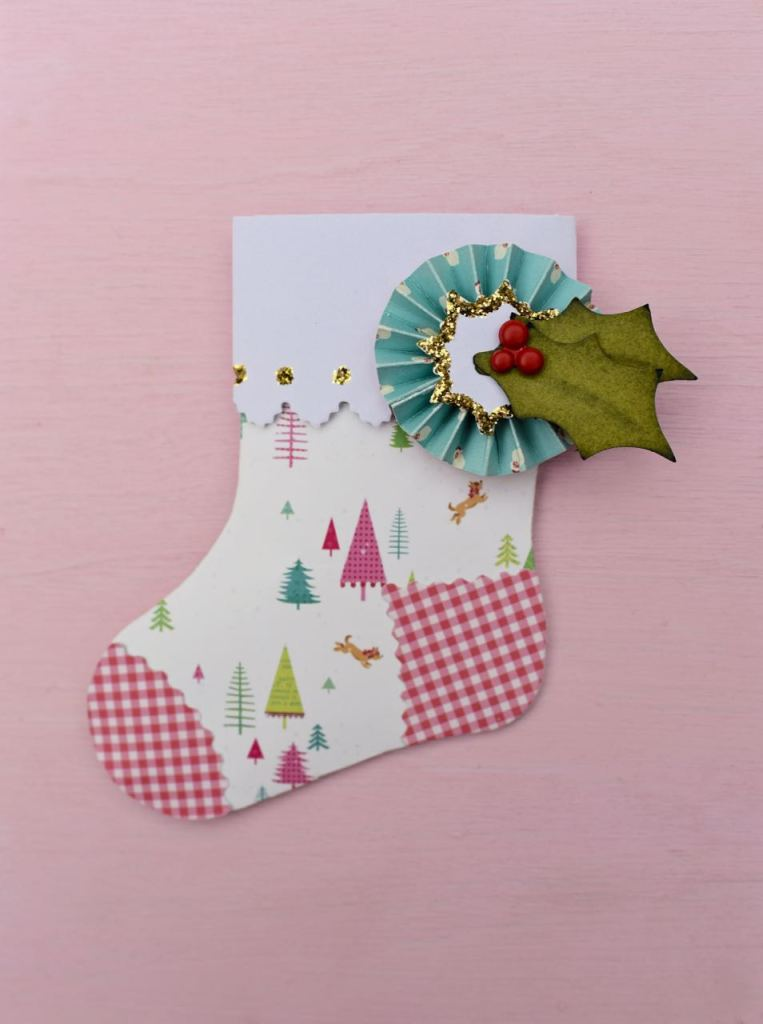 Stocking gift holder with Brenda Walton's Sizzix die
