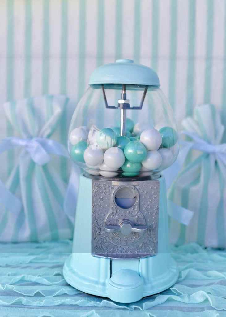 Mint gumball machine at a sweets shop party