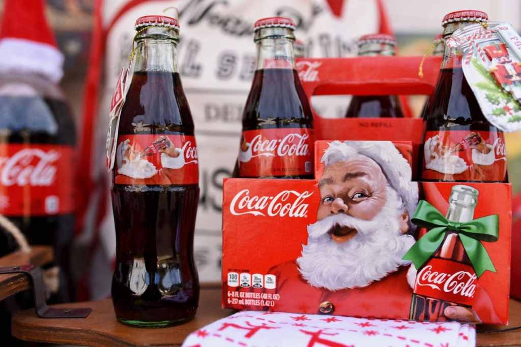 Christmas Coca-Cola bottles with Santa at vintage Santa party