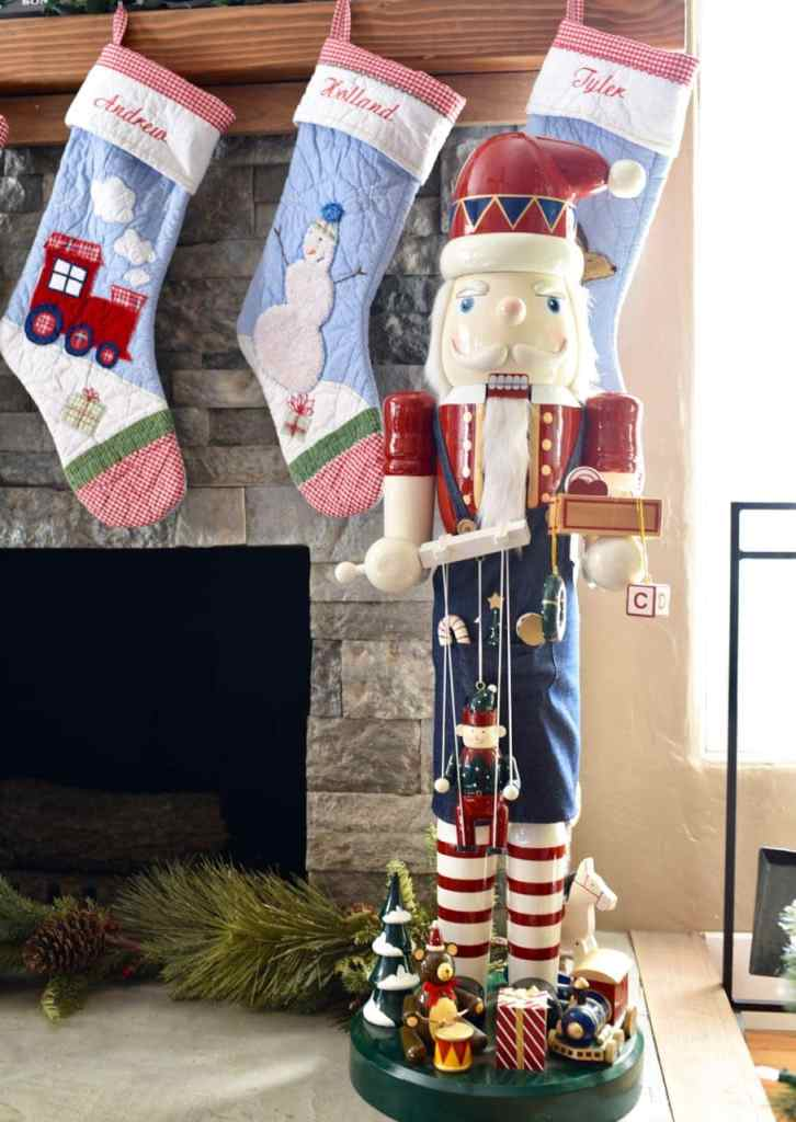 Giant nutcracker decoration in Christmas living room