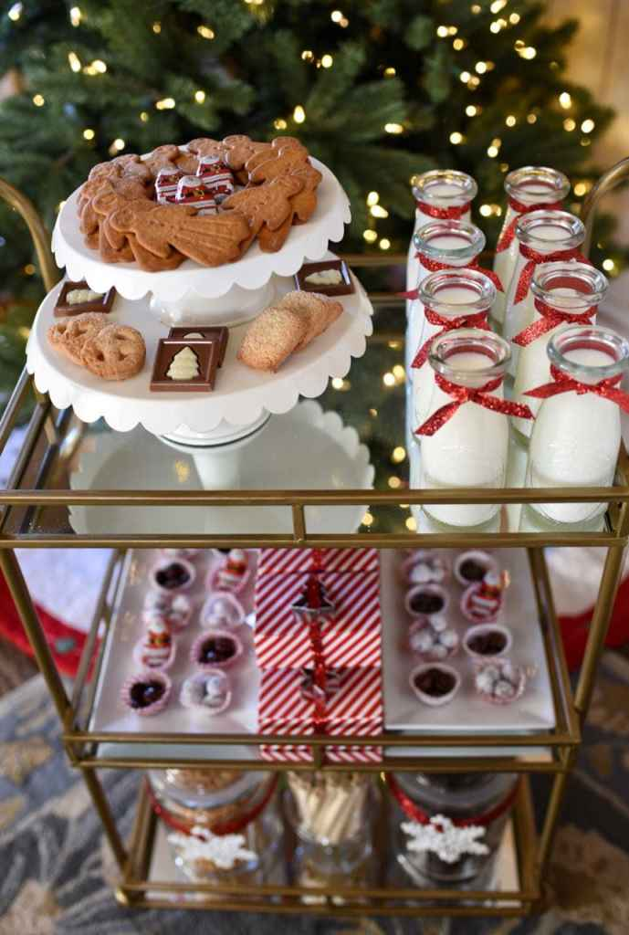 Holiday bar cart styled three ways