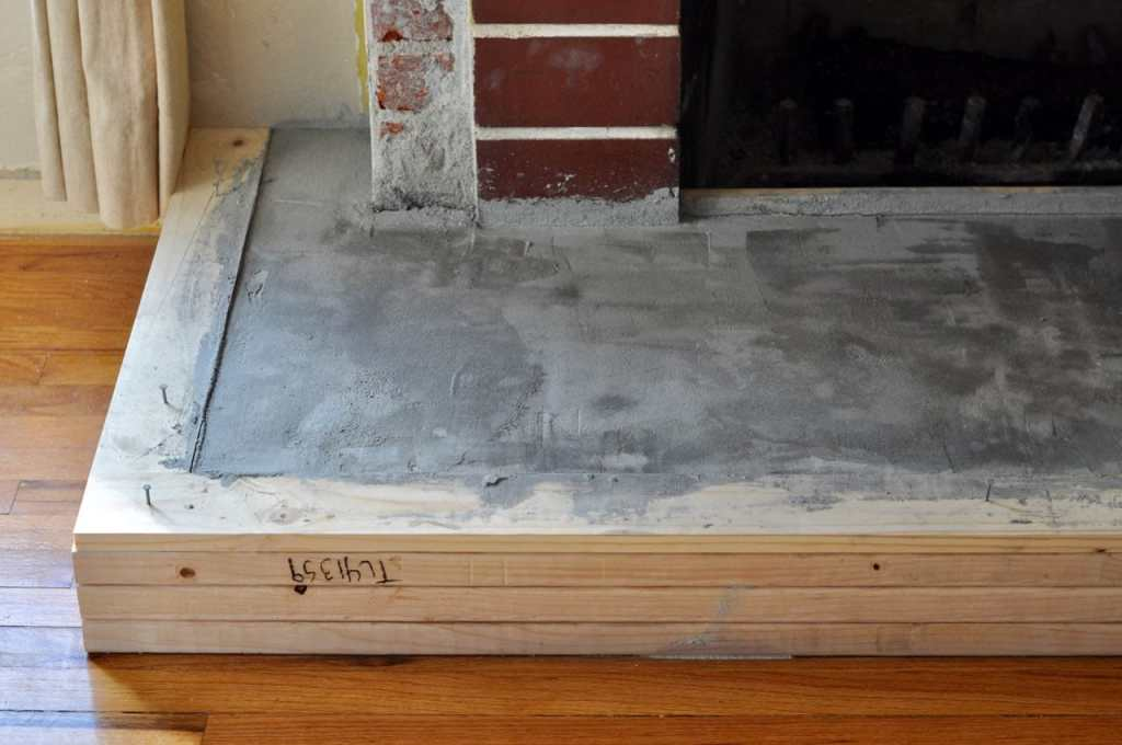 Concrete fireplace hearth DIY