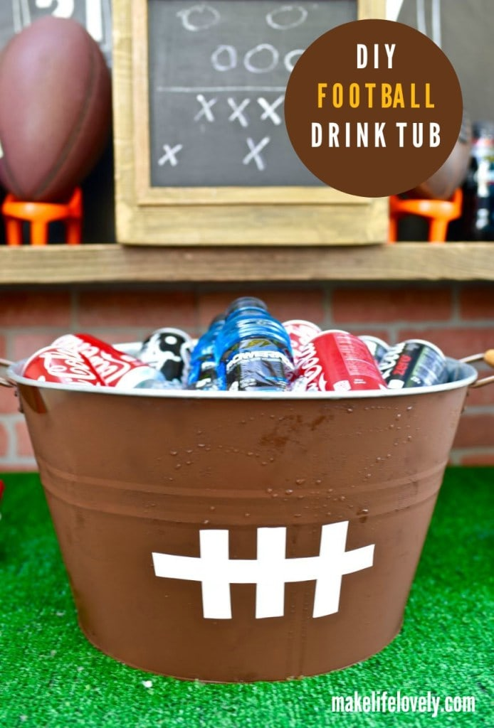 DIY football drink tub. Make f or our next Super Bowl party!