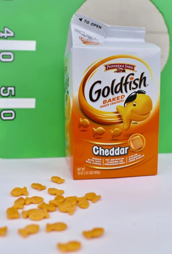 DIY football toss game with Goldfish crackers