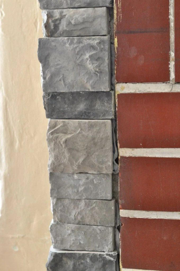 DIY stone fireplace
