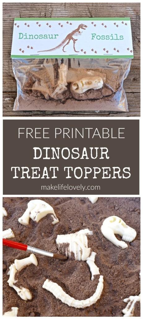 Free printable dinosaur treat toppers