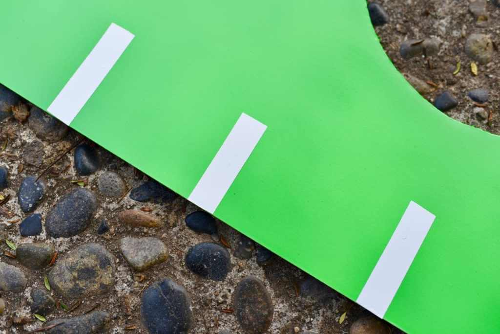 Use electrical tape on the DIY football toss game