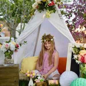 Boho Party with Lovely Teepee, Flowers, and Rustic Woodland Details