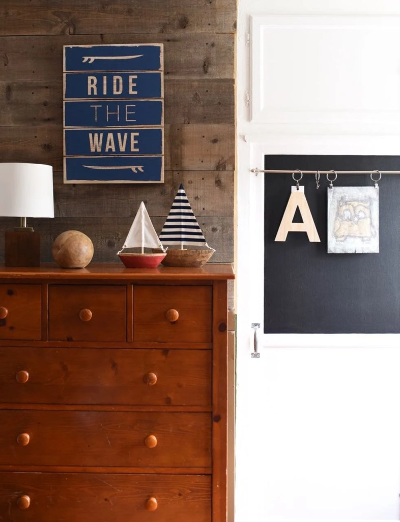 Kids' Closet Makeover with Chalkboard Paint and Wallpaper