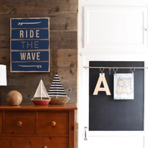 Closet Makeover with Chalkboard Paint and Wallpaper