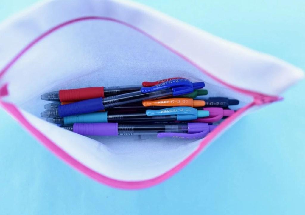 Pilot G2 pens in no sew pencil case