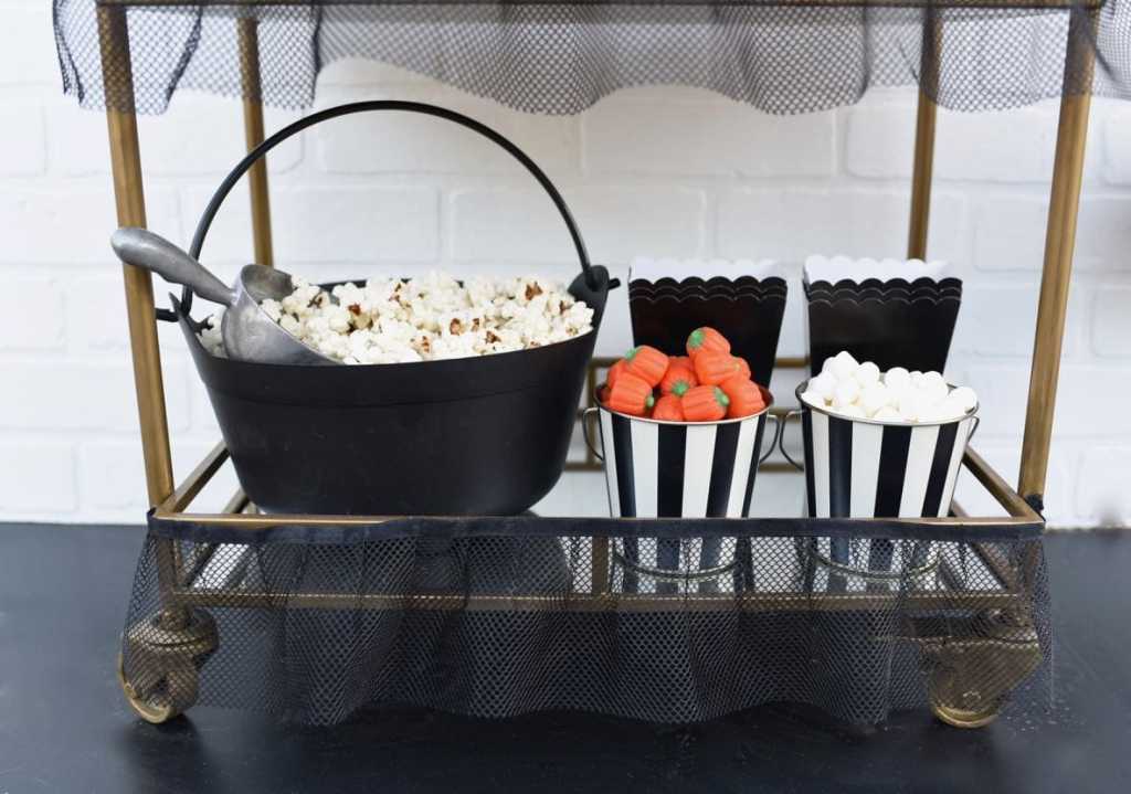 Halloween candy popcorn cart at Halloween movie night