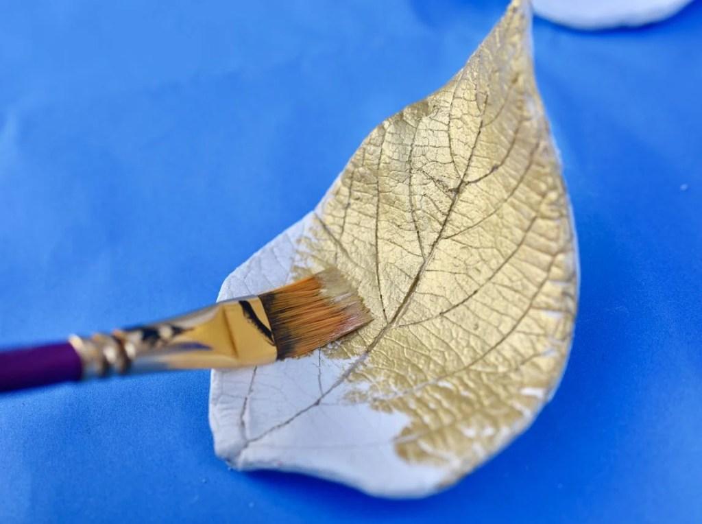 Metallic leaf clay bowls tutorial