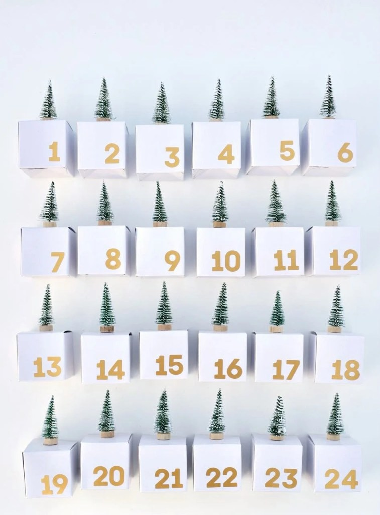 Advent calendar boxes tutorial. Make this fun and simple diy a Christmas tradition in your home with bottlebrush trees