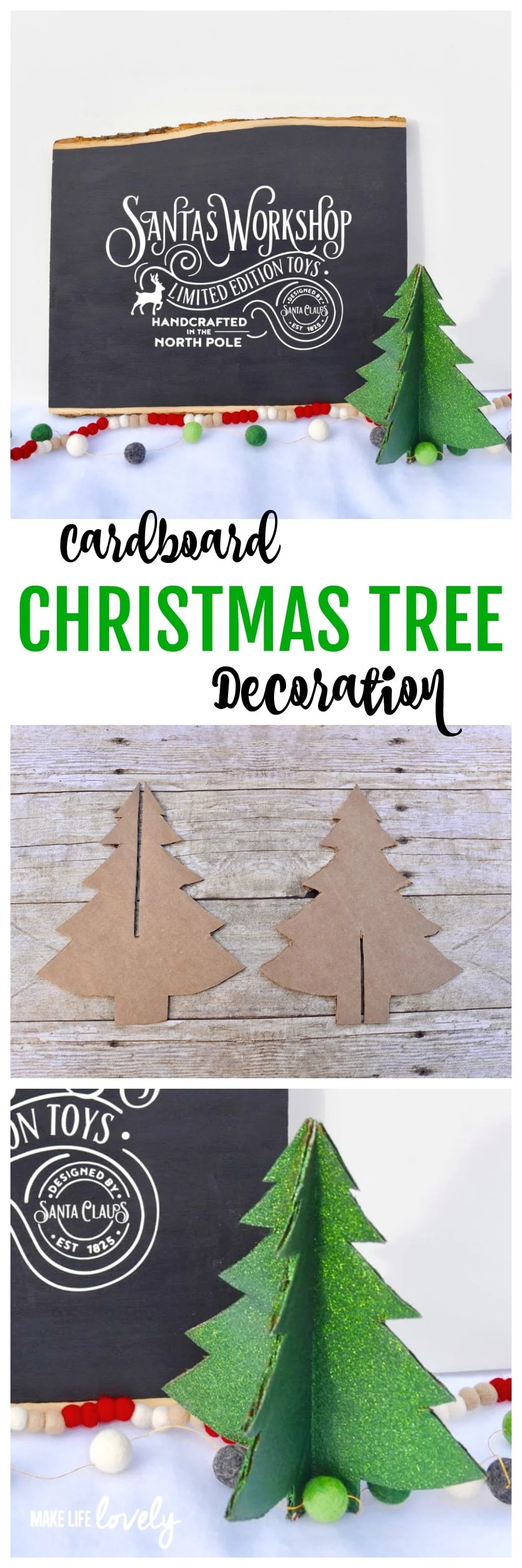 Cardboard christmas tree decoration make life lovely for Christmas tree in a box