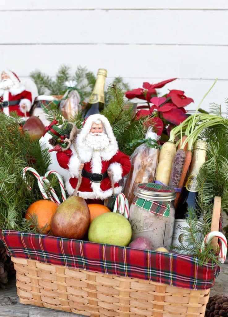 Christmas gift basket with holiday meal service project