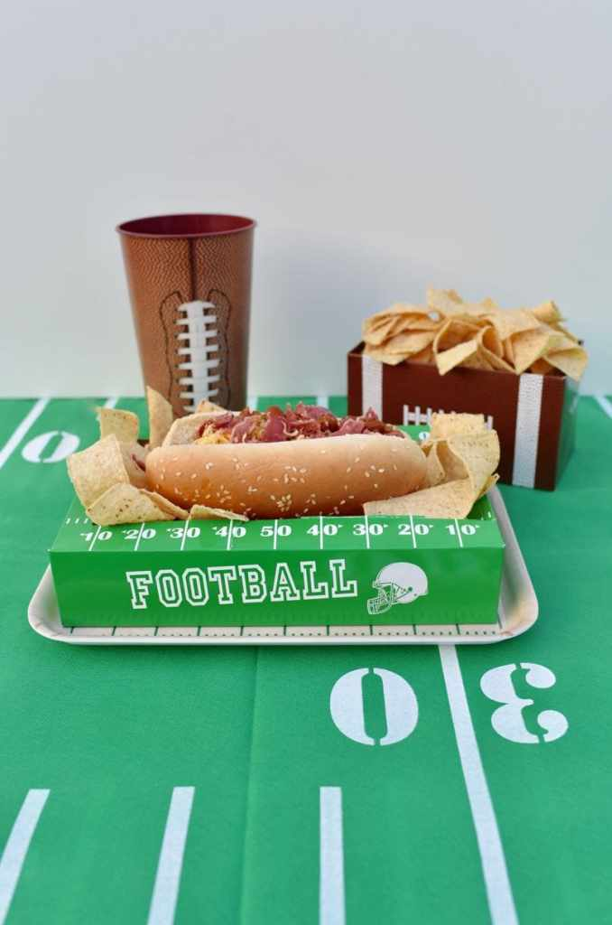 Bacon chili cheese dog recipe. The perfect football food for tailgating, football games, and the Super Bowl!