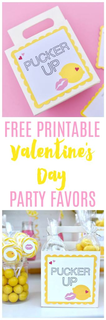 Free printable Valentine's Day party favors for a Pucker Up Valentine's Day party. So cute!!