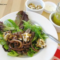 Steak Salad with Goat Cheese & Red Onions