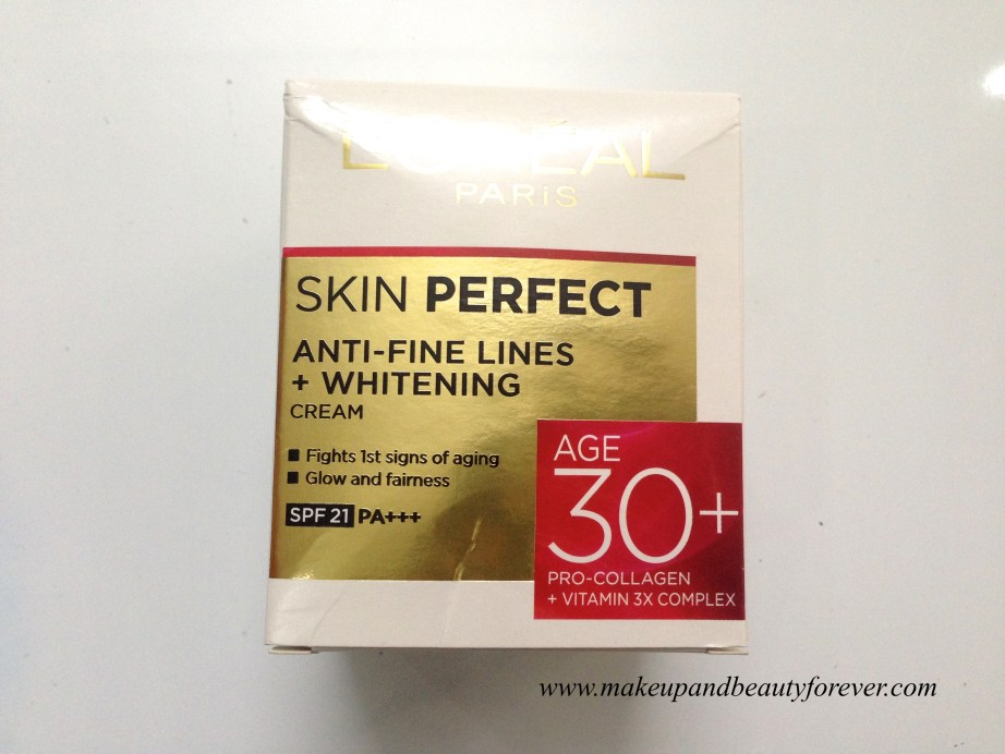 L'Oreal Paris Skin Perfect Anti-Fine Lines + Whitening for age 30+ Cream Review