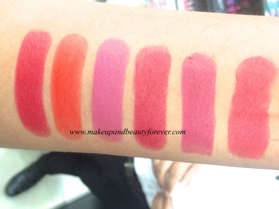 Lakme Burgundy Affair Coco Shot Coral Flare Crimson Touch Maroon Magic Mauve Fix Peach Out Pink Caress Pink Glam Pink me up Plum shell Red flames Red rush Rose bloom Tangerine lush