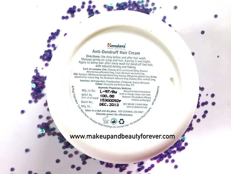 Himalaya Herbals Anti-Dandruff Hair Cream Ingredients