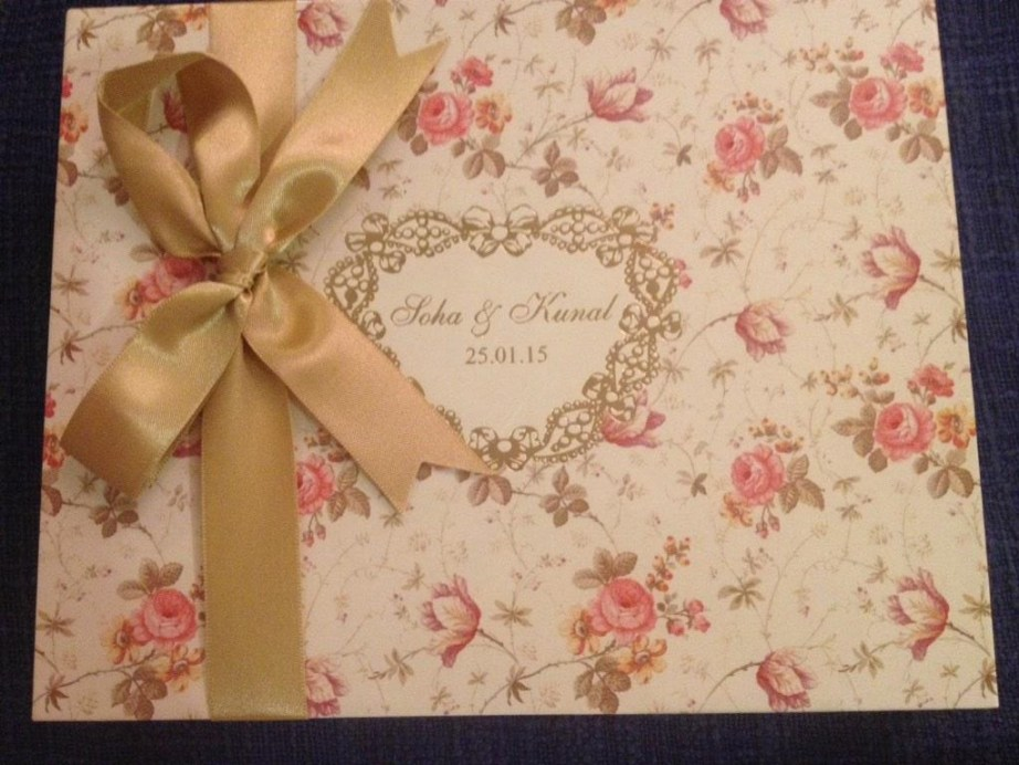 Invitation card soha ali khan kunal kemmu wedding
