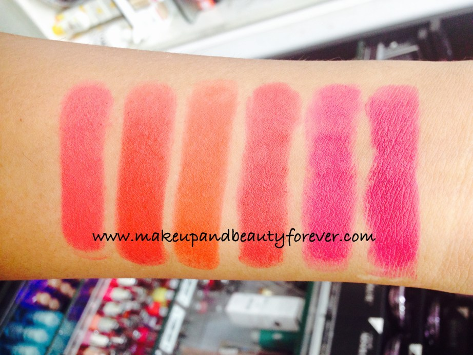Lakme Absolute Lip Pout Review Swatches Victorian Rose Starlet Red Tangerine Touch Raving Red Pink Fantasy Magenta Magic