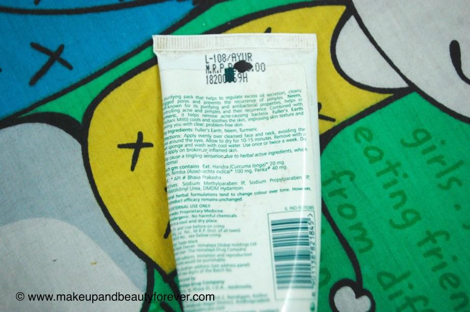 Himalaya Herbals Purifying Neem Pack Review ingredients