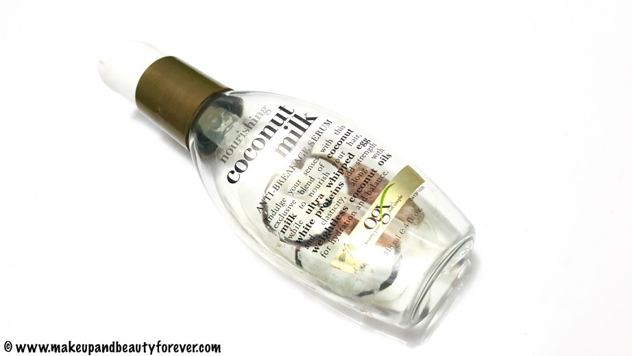 Organix Nourishing Coconut Milk Anti Breakage Serum Review Indian Makeup and Beauty Blog