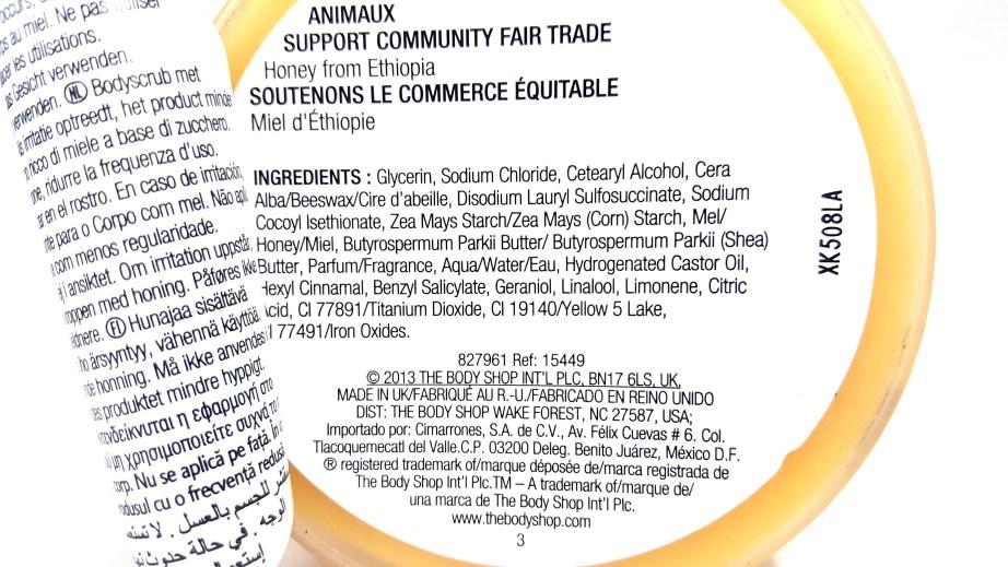 The Body Shop Honeymania Cream Body Scrub Review ingredients