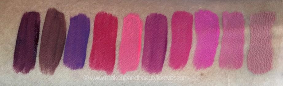 All Inglot HD Lip Tint Matte Liquid Lipsticks 10 Shades Review Swatches Shade No. 20, 18, 19, 12, 11, 15, 13, 14, 16, 17 mbf