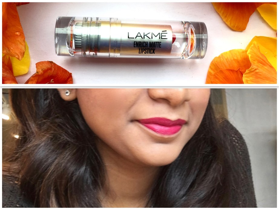 Lakme Enrich Matte Lipstick PM 15 Review Swatches on Lips