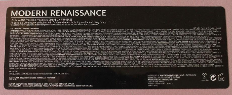 Anastasia Beverly Hills Modern Renaissance Palette Review Swatches ingredients