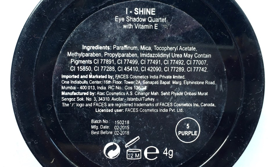 Faces I Shine Eye Shadow Quartet Purple Review Swatches ingredients