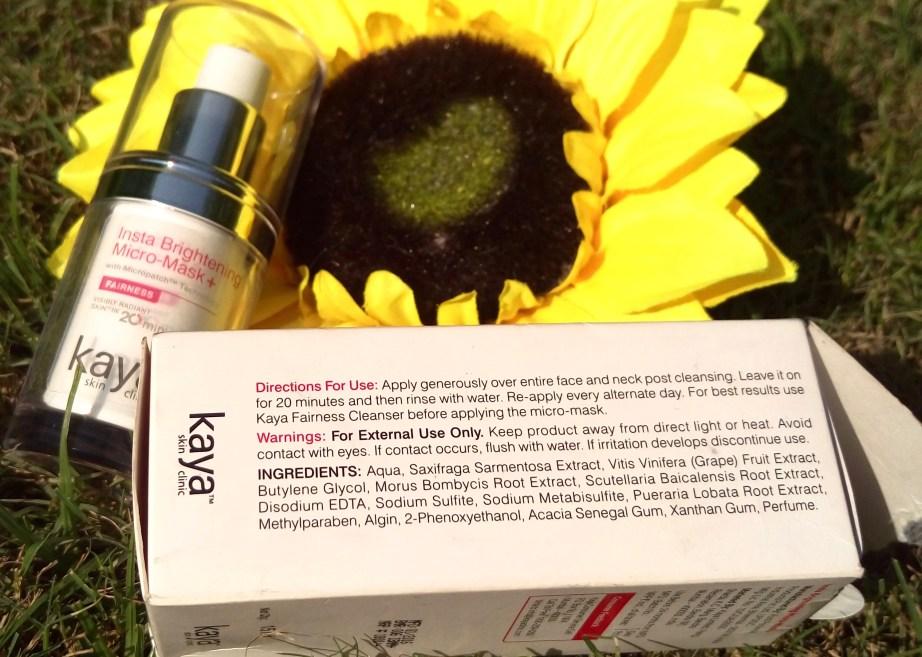 Kaya Insta Brightening Micro Mask Review Swatches Ingredients